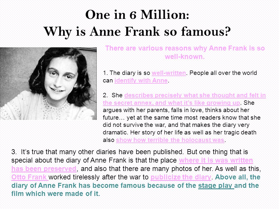 One in 6 Million: Why is Anne Frank so famous.