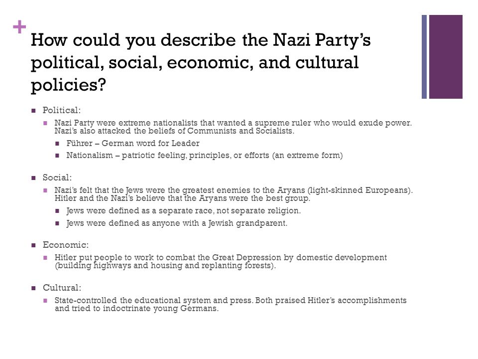 + How could you describe the Nazi Party's political, social, economic, and cultural policies.
