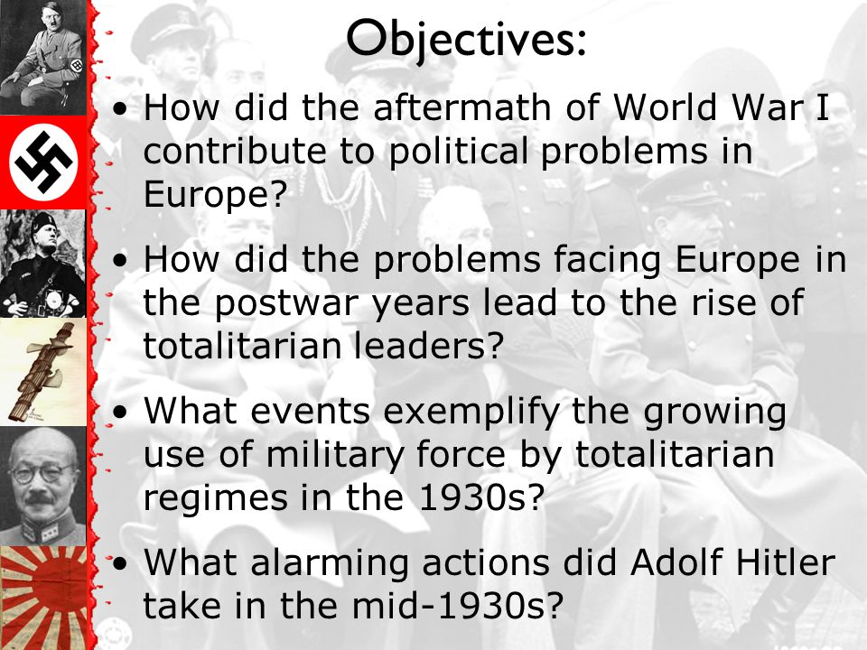 Objectives: How did the aftermath of World War I contribute to political problems in Europe.