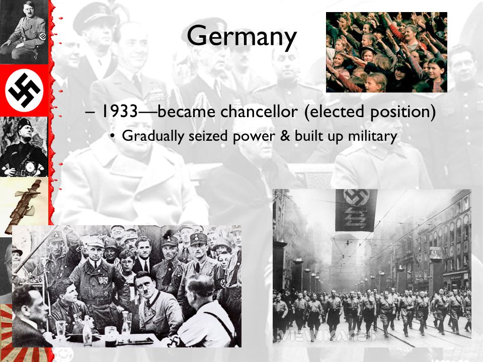 Germany Germany, –Adolf Hitler –National Socialist Party (Nazis) –Failed attempt to seize power in 1922-23 Prison wrote Mien Kampf