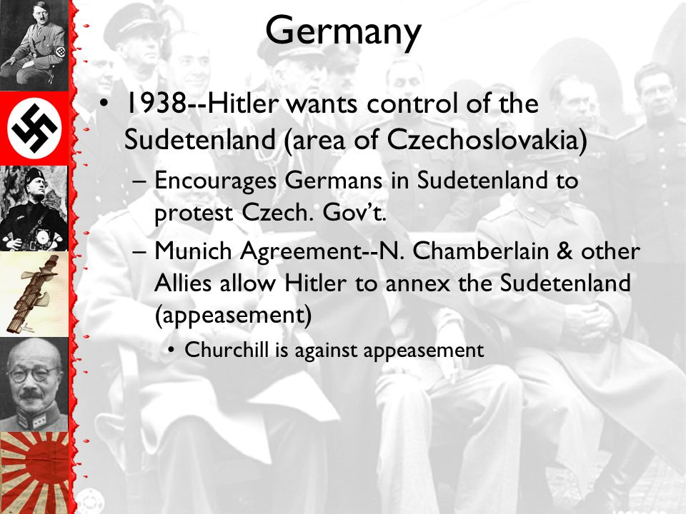 1938—Anschluss—Hitler attempts to unite Germans in Germany & Austria –Austrian gov't objects –Hitler forces his way into Austria –GB & Fr do nothing t