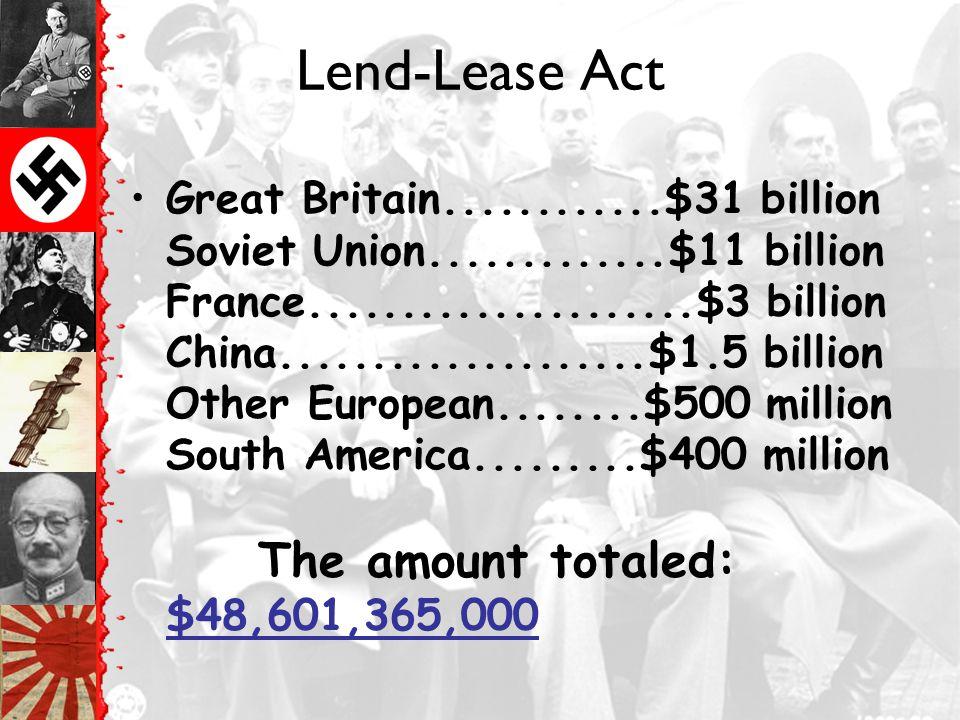 US Intervention Lend Lease Act Atlantic Charter –Agreement b/w FDR & Churchill –Against Hitler