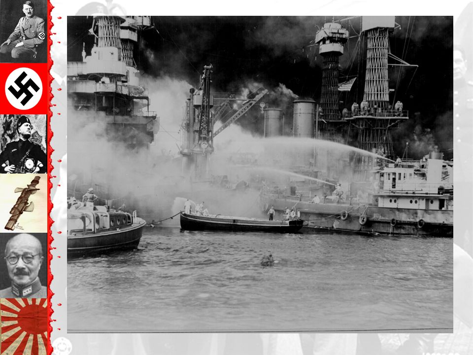 Japanese attack Pearl Harbor Attack lasted 2 hrs 8 battleships damaged; 4 sunk 200 aircraft destroyed 2,400 Americans killed