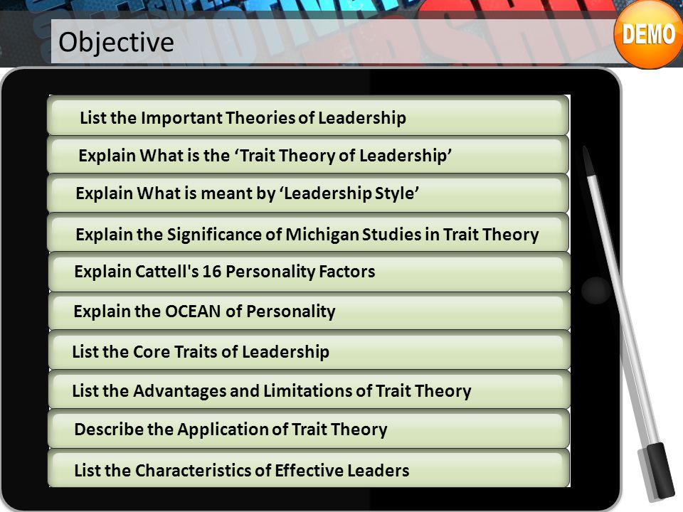 Introduction The 'Trait Theory of Leadership' is based on the characteristics of many leaders, both successful and unsuccessful and is used to predict leadership effectiveness.