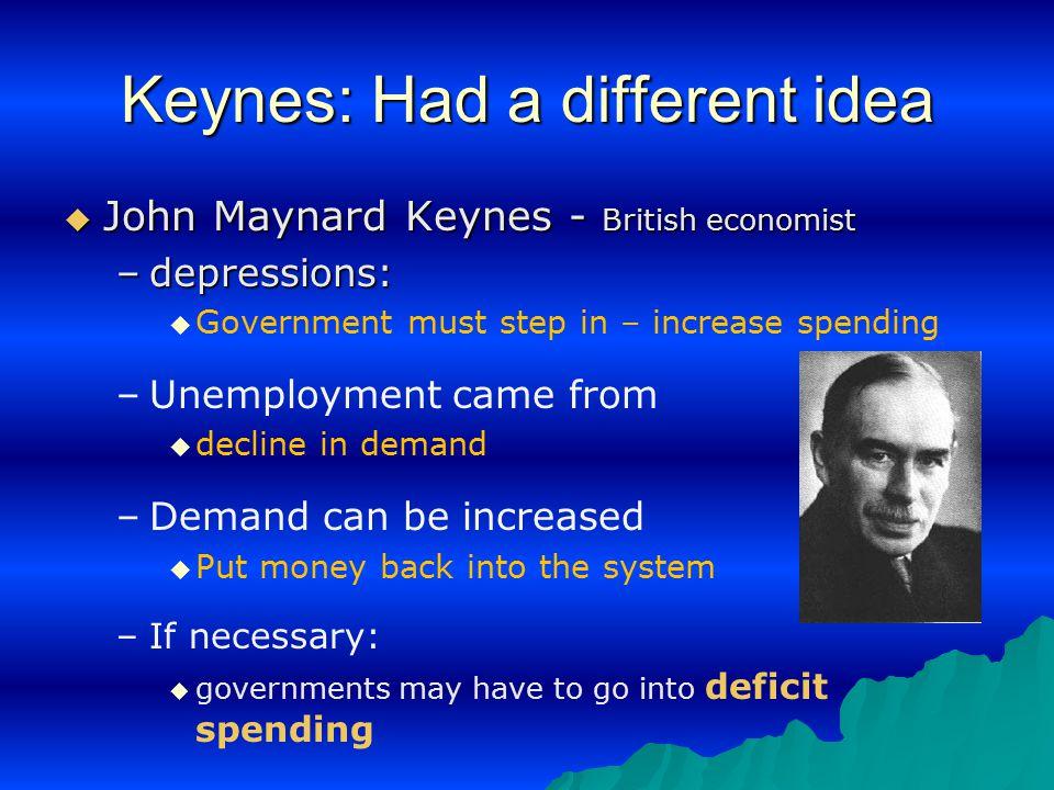 Keynes: Had a different idea  John Maynard Keynes - British economist –depressions:   Government must step in – increase spending – –Unemployment c