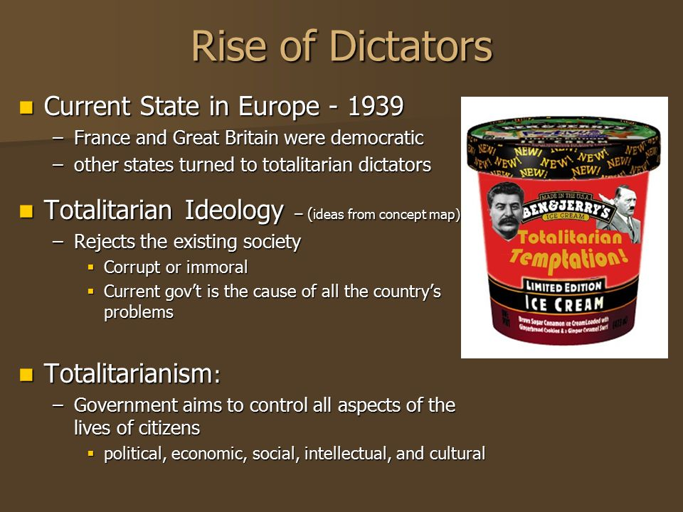 Rise of Dictators Current State in Europe - 1939 –F–F–F–France and Great Britain were democratic –o–o–o–other states turned to totalitarian dictators