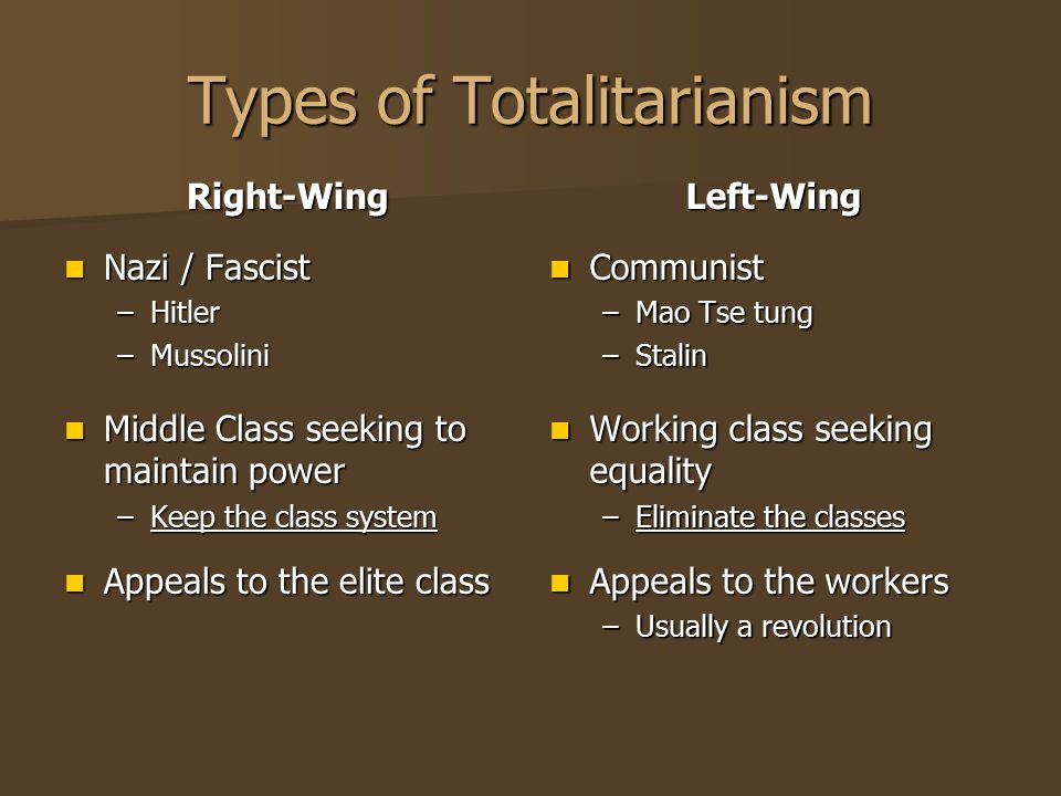 Types of Totalitarianism Right-Wing Nazi / Fascist Nazi / Fascist –Hitler –Mussolini Middle Class seeking to maintain power Middle Class seeking to ma