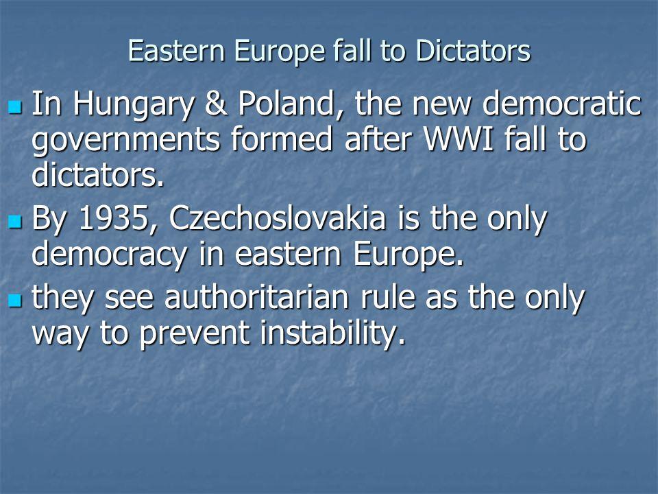 Spain Civil war in Spain leads to a Fascist dictatorship.