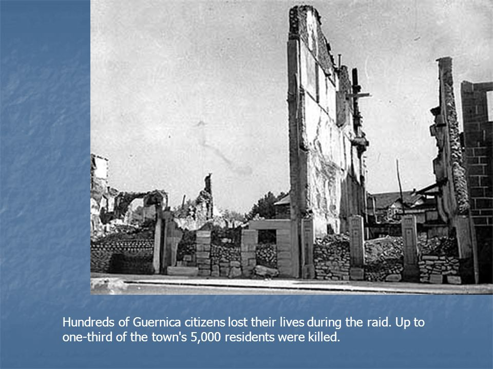 This image shows the center of Guernica shortly after the raid.