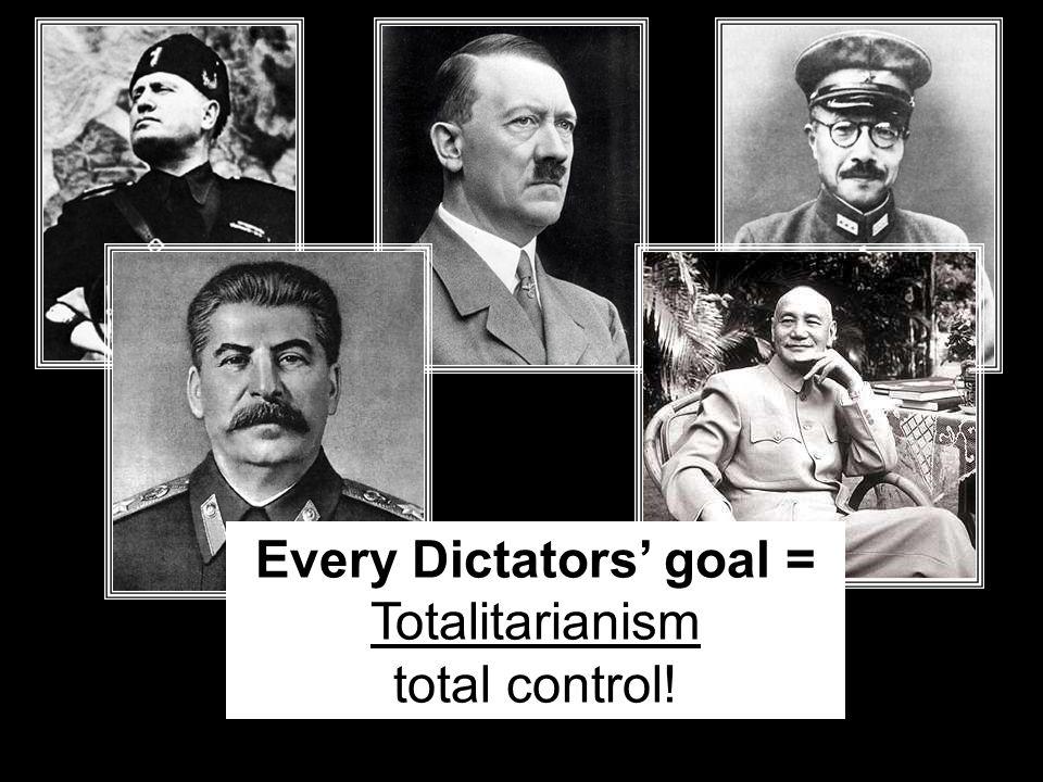 Every Dictators' goal = Totalitarianism total control!