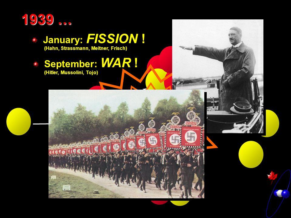 1939 … January: FISSION . (Hahn, Strassmann, Meitner, Frisch) September: WAR .