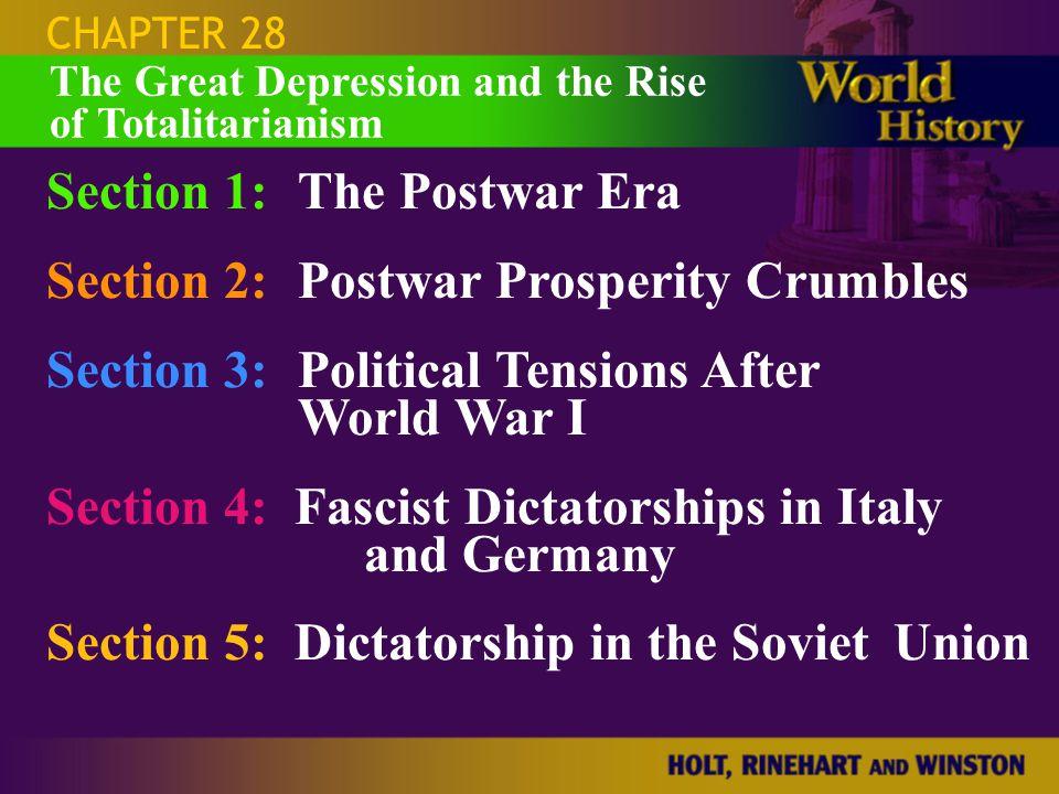 CHAPTER 28 Section 1:The Postwar Era Section 2:Postwar Prosperity Crumbles Section 3:Political Tensions After World War I Section 4: Fascist Dictators