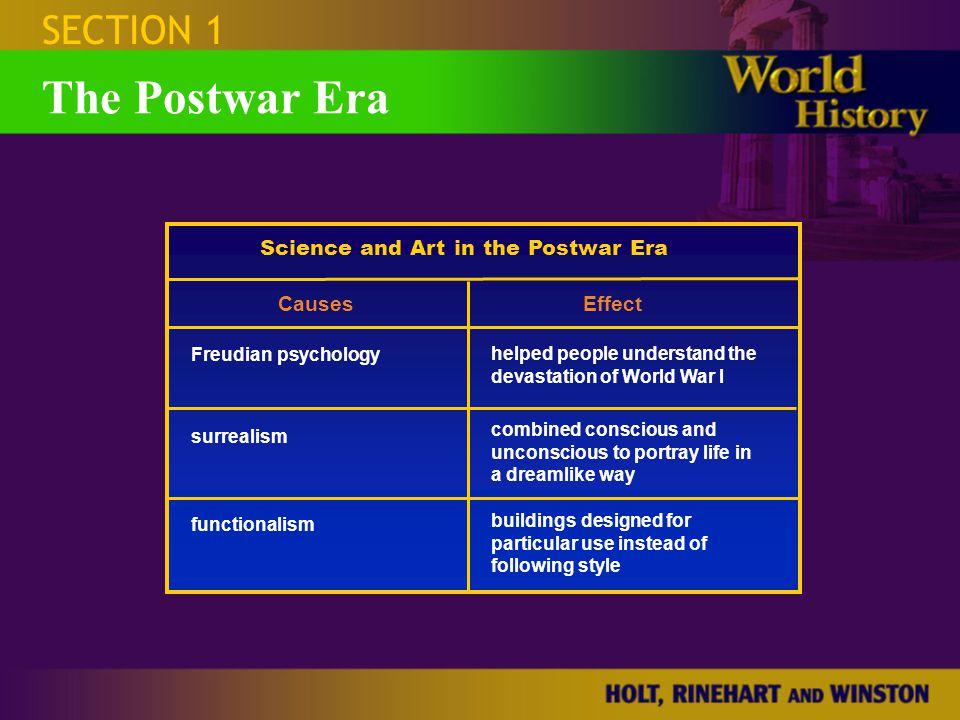 SECTION 1 The Postwar Era Science and Art in the Postwar Era CausesEffect Freudian psychology helped people understand the devastation of World War I
