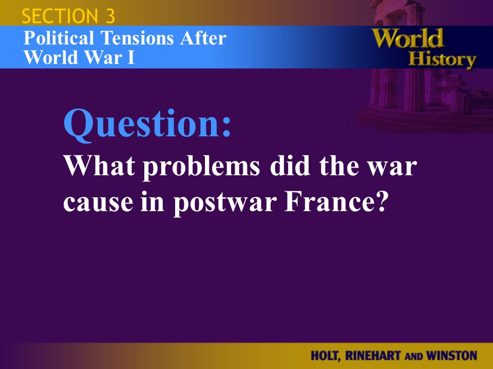 Israel and the Occupied Territories SECTION 3 Question: What problems did the war cause in postwar France? Political Tensions After World War I