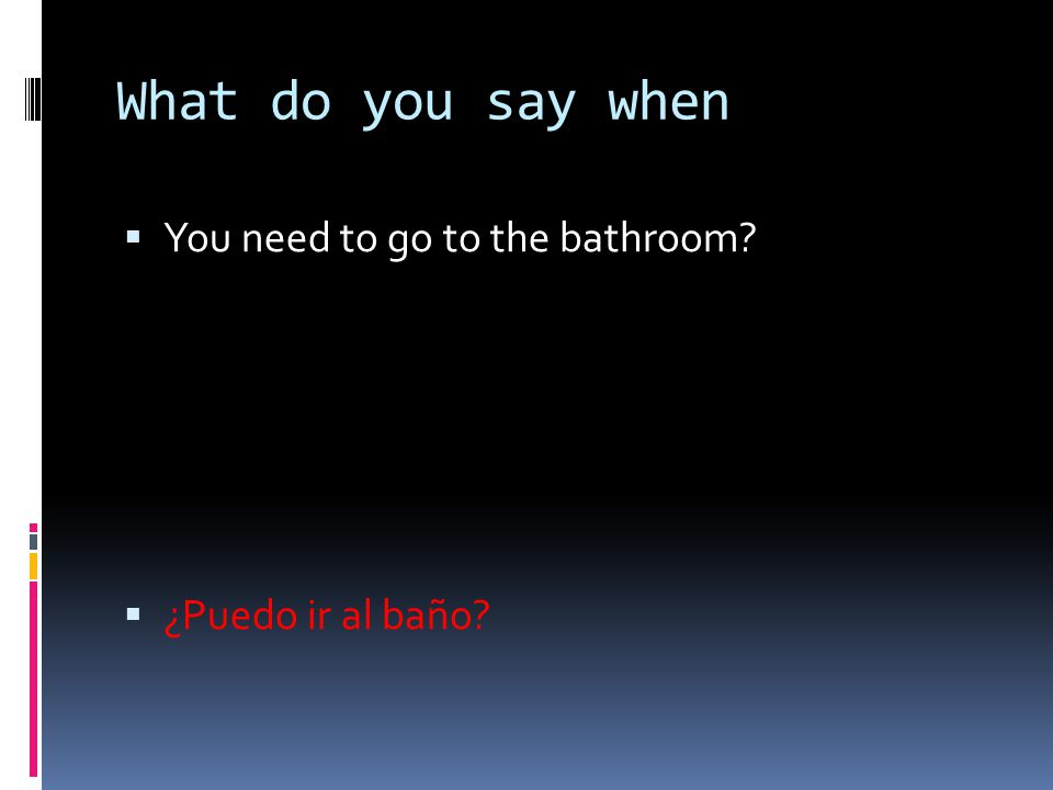 What do you say when  You need to go to the bathroom?  ¿Puedo ir al baño?