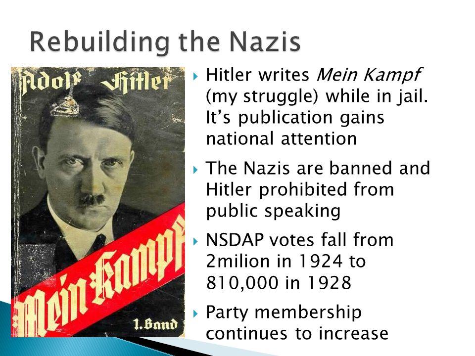  Hitler writes Mein Kampf (my struggle) while in jail.