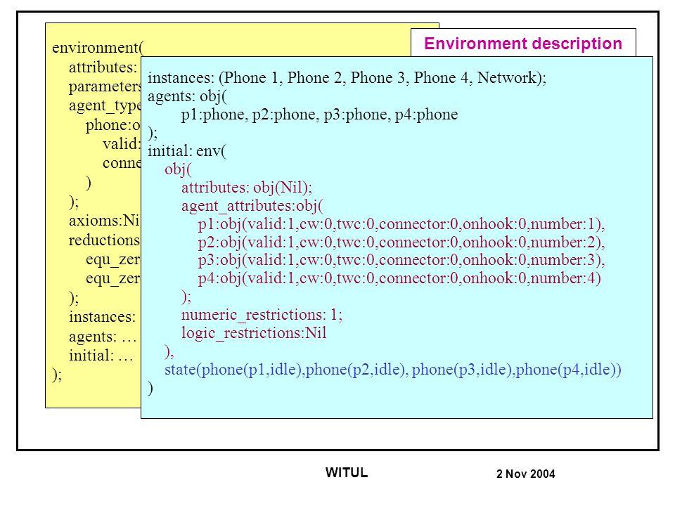 2 Nov 2004 WITUL environment( attributes: obj(Nil); parameters: obj(Nil); agent_types: obj( phone:obj( valid:symb, cw:symb, twc:symb, connector:bool,