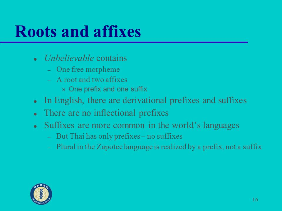 16 Roots and affixes Unbelievable contains – One free morpheme – A root and two affixes »One prefix and one suffix In English, there are derivational prefixes and suffixes There are no inflectional prefixes Suffixes are more common in the world's languages – But Thai has only prefixes – no suffixes – Plural in the Zapotec language is realized by a prefix, not a suffix