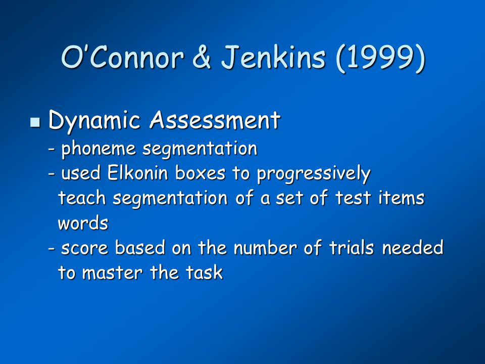 O'Conner & Jenkins (1999) Oct 1 st predicting April 1 st (dynamic) At riskNot at risk Normal RD Outcome 101 1959 Screen Sensitivity 90.9% Specificity 95.6% Positive Predictive Power 52.6% Negative Predictive Power 99.5% Base rate 5.1% Risk rate 8.8%