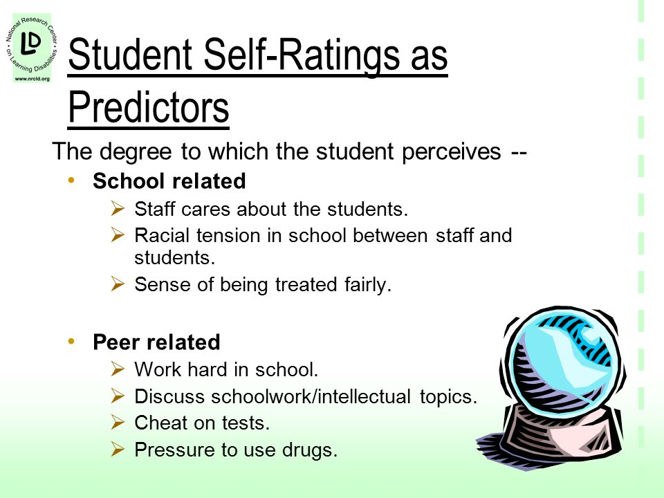 Student Self-Ratings as Predictors The degree to which the student perceives -- School related  Staff cares about the students.