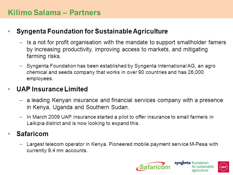 Current status of pilot and project goals 5 Insurance products are only sustainable if they can reach scale We currently insure 12,000 farmers in 5 areas in Kenya We aim to offer insurance to farmers in all agricultural areas in Kenya by 2012 This will require investment in: The weather station network from 30  300 A significant investment in financial education