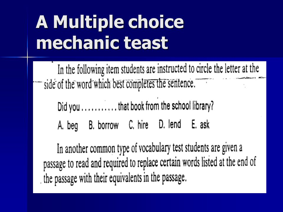 A Multiple choice mechanic teast