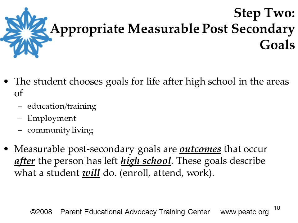 10 Step Two: Appropriate Measurable Post Secondary Goals The student chooses goals for life after high school in the areas of –education/training –Emp