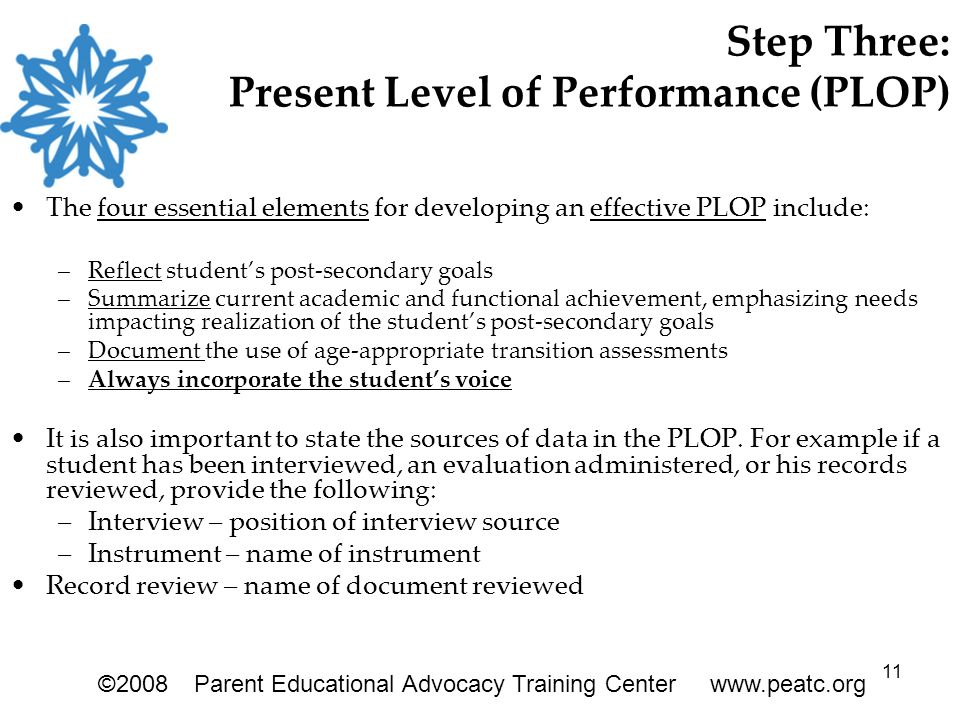 11 Step Three: Present Level of Performance (PLOP) The four essential elements for developing an effective PLOP include: –Reflect student's post-secondary goals –Summarize current academic and functional achievement, emphasizing needs impacting realization of the student's post-secondary goals –Document the use of age-appropriate transition assessments –Always incorporate the student's voice It is also important to state the sources of data in the PLOP.