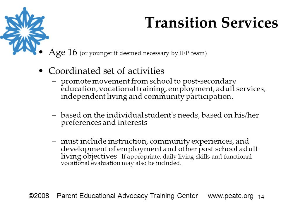 14 Transition Services Age 16 (or younger if deemed necessary by IEP team) Coordinated set of activities –promote movement from school to post-secondary education, vocational training, employment, adult services, independent living and community participation.