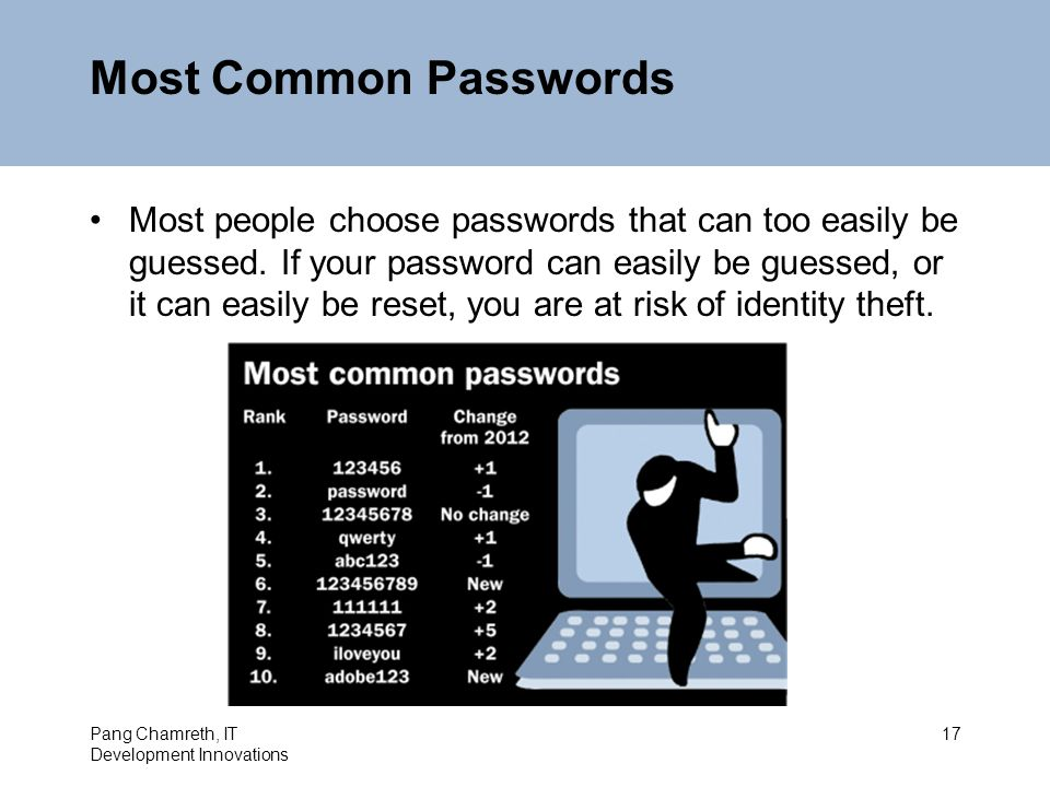 Most Common Passwords Most people choose passwords that can too easily be guessed.