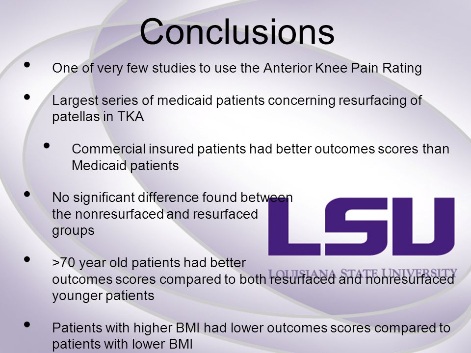 Conclusions One of very few studies to use the Anterior Knee Pain Rating Largest series of medicaid patients concerning resurfacing of patellas in TKA Commercial insured patients had better outcomes scores than Medicaid patients No significant difference found between the nonresurfaced and resurfaced groups >70 year old patients had better outcomes scores compared to both resurfaced and nonresurfaced younger patients Patients with higher BMI had lower outcomes scores compared to patients with lower BMI