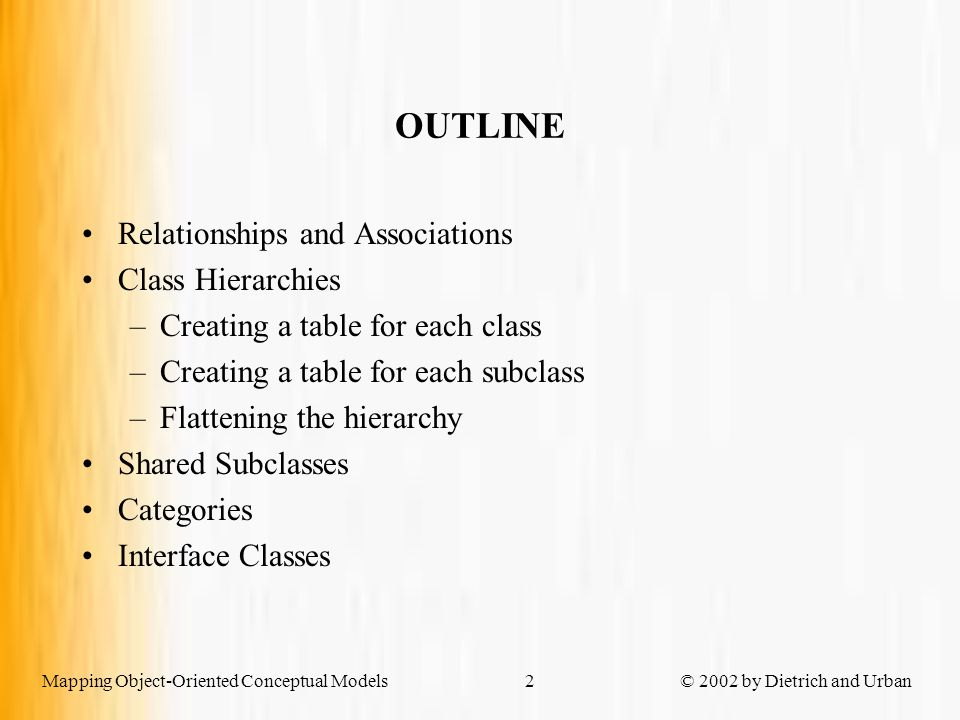 Mapping Object-Oriented Conceptual Models © 2002 by Dietrich and Urban2 OUTLINE Relationships and Associations Class Hierarchies –Creating a table for each class –Creating a table for each subclass –Flattening the hierarchy Shared Subclasses Categories Interface Classes