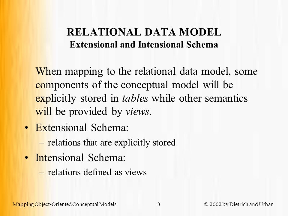 Mapping Object-Oriented Conceptual Models © 2002 by Dietrich and Urban34 SHARED SUBCLASSES starModel Example: Flattening the hierarchy Extensional Schema celebrityHierarchy (ssn, birthDate, movieStar, movieType, model, preferences) Intensional Schema create view starModel as select C.ssn, C.birthDate, C.movieType, C.preferences fromcelebrityHierarchy C wheremovieStar = 'TRUE' and model = 'TRUE'