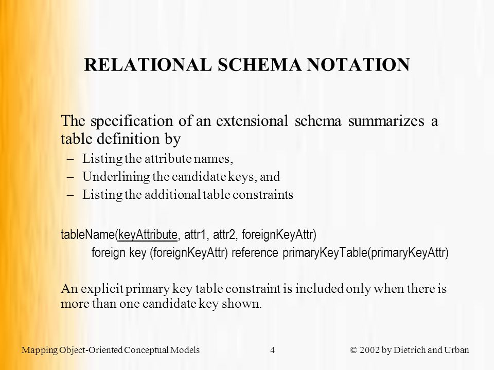 Mapping Object-Oriented Conceptual Models © 2002 by Dietrich and Urban4 RELATIONAL SCHEMA NOTATION The specification of an extensional schema summarizes a table definition by –Listing the attribute names, –Underlining the candidate keys, and –Listing the additional table constraints tableName(keyAttribute, attr1, attr2, foreignKeyAttr) foreign key (foreignKeyAttr) reference primaryKeyTable(primaryKeyAttr) An explicit primary key table constraint is included only when there is more than one candidate key shown.