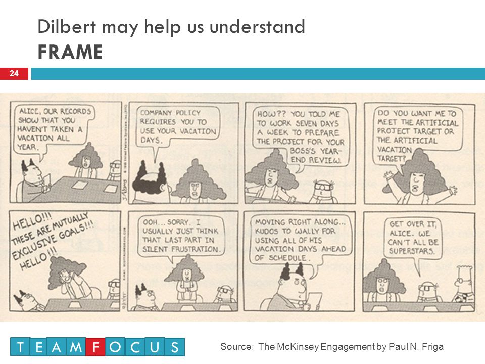 Dilbert may help us understand FRAME 24 Source: The McKinsey Engagement by Paul N.