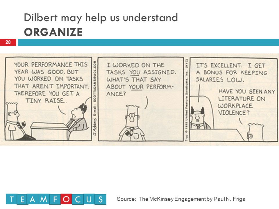 Dilbert may help us understand ORGANIZE 28 T E M A F O U CS Source: The McKinsey Engagement by Paul N.