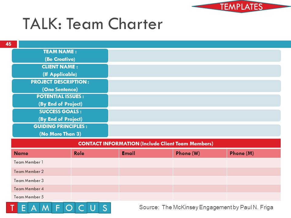 TALK: Team Charter 45 Source: The McKinsey Engagement by Paul N.