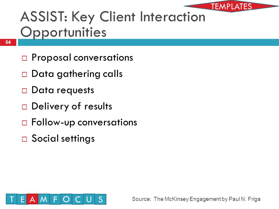 54  Proposal conversations  Data gathering calls  Data requests  Delivery of results  Follow-up conversations  Social settings ASSIST: Key Client Interaction Opportunities Source: The McKinsey Engagement by Paul N.