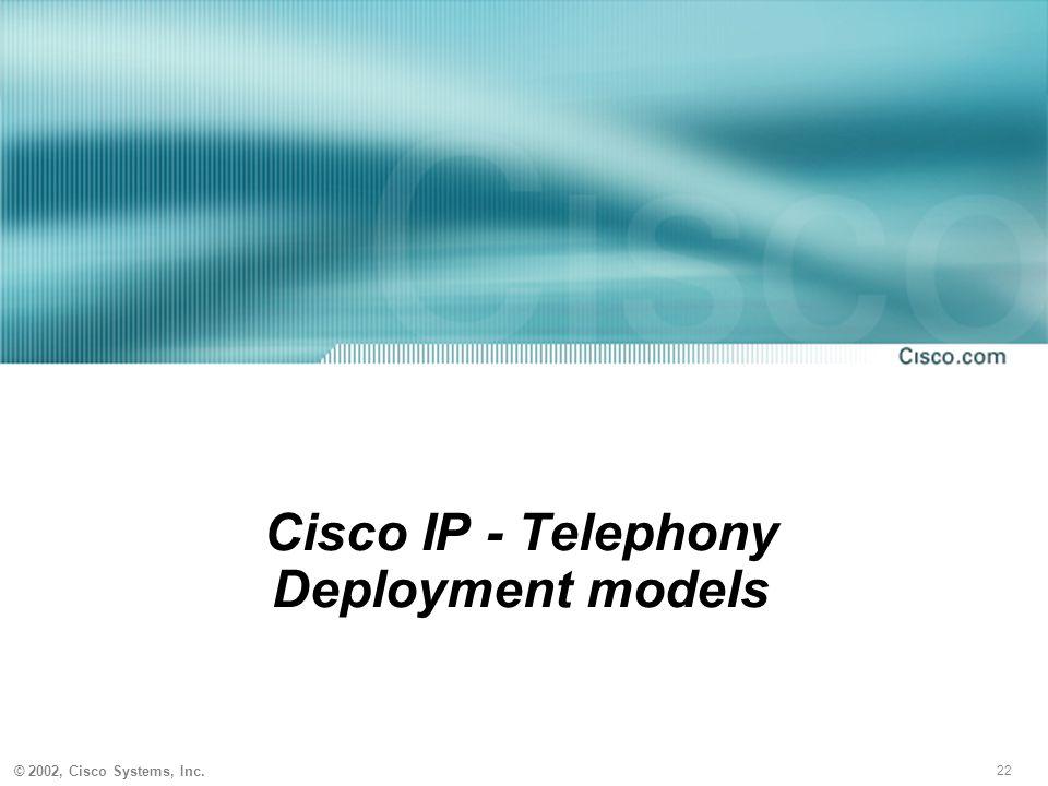 22 © 2002, Cisco Systems, Inc. Cisco IP - Telephony Deployment models