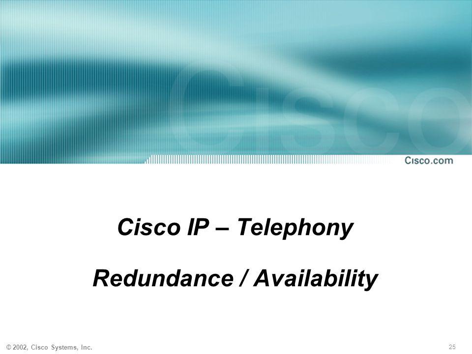 25 © 2002, Cisco Systems, Inc. Cisco IP – Telephony Redundance / Availability