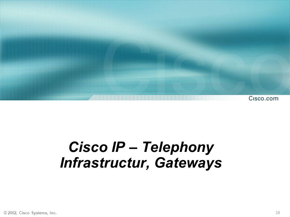 28 © 2002, Cisco Systems, Inc. Cisco IP – Telephony Infrastructur, Gateways
