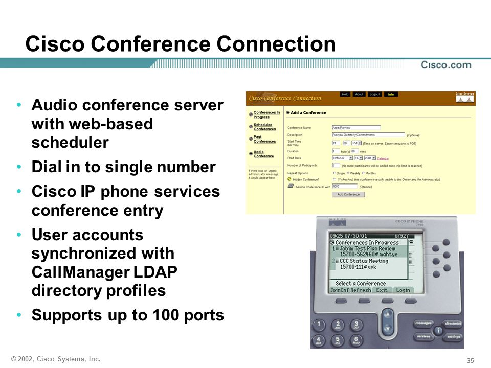 35 © 2002, Cisco Systems, Inc. Cisco Conference Connection Audio conference server with web-based scheduler Dial in to single number Cisco IP phone se