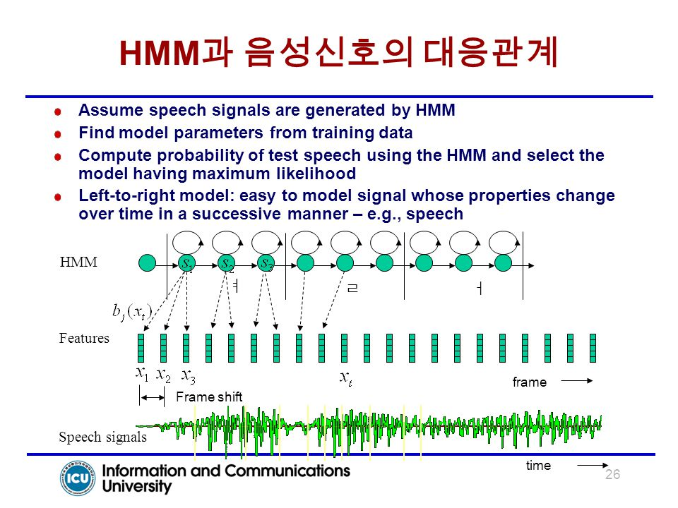 26 HMM 과 음성신호의 대응관계 ㅕ ㄹㅓ HMM Features Speech signals Frame shift frame time Assume speech signals are generated by HMM Find model parameters from trai