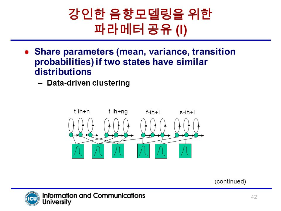 42 강인한 음향모델링을 위한 파라메터 공유 (I) Share parameters (mean, variance, transition probabilities) if two states have similar distributions –Data-driven cluster