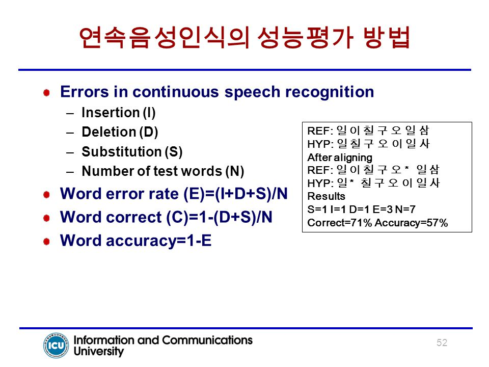 52 연속음성인식의 성능평가 방법 Errors in continuous speech recognition –Insertion (I) –Deletion (D) –Substitution (S) –Number of test words (N) Word error rate (E