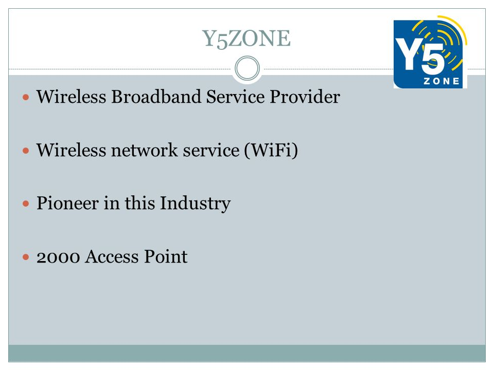 Y5ZONE Wireless Broadband Service Provider Wireless network service (WiFi) Pioneer in this Industry 2000 Access Point