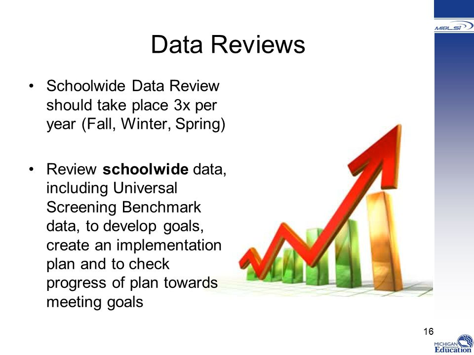 Data Reviews Schoolwide Data Review should take place 3x per year (Fall, Winter, Spring) Review schoolwide data, including Universal Screening Benchmark data, to develop goals, create an implementation plan and to check progress of plan towards meeting goals 16