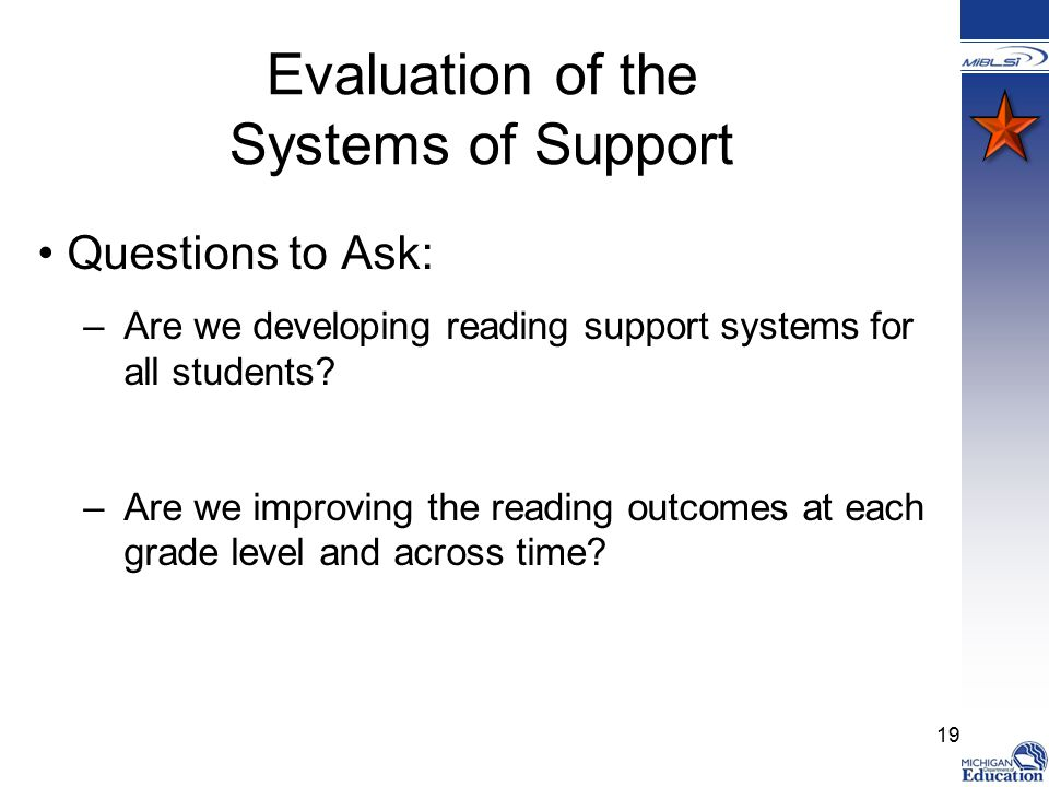 Evaluation of the Systems of Support Questions to Ask: –Are we developing reading support systems for all students.
