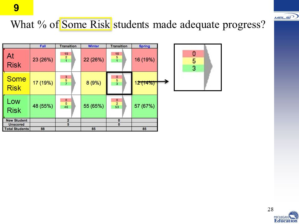28 What % of Some Risk students made adequate progress? Low Risk Some Risk At Risk 9