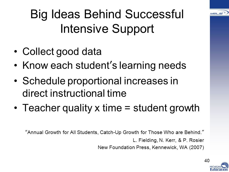 Big Ideas Behind Successful Intensive Support Collect good data Know each student's learning needs Schedule proportional increases in direct instructional time Teacher quality x time = student growth Annual Growth for All Students, Catch-Up Growth for Those Who are Behind. L.
